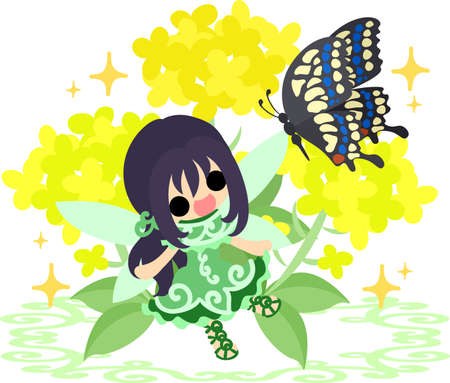 brassica: Pretty fairy and beautiful brassica and butterfly