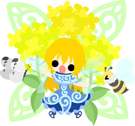 brassica: Pretty fairy and beautiful brassica and butterfly and bee