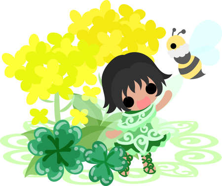 brassica: Pretty fairy and beautiful brassica and bee and clover