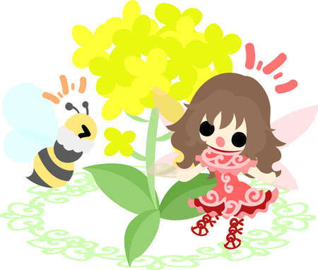かなりの妖精と美しいアブラナ科植物とミツバチ  イラスト・ベクター素材