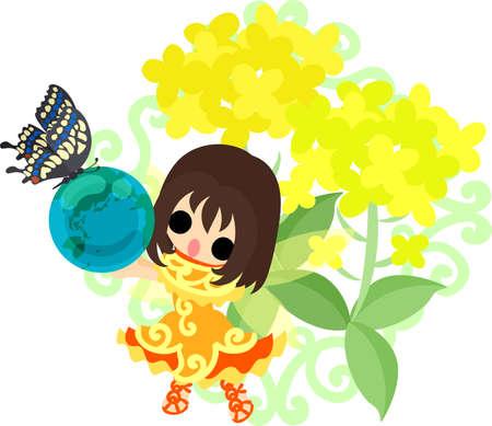 かなりの妖精と美しいアブラナ科植物と蝶とグローブ 写真素材 - 73138042