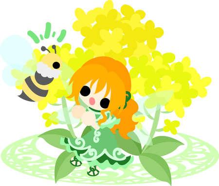 かなりの妖精と美しいアブラナ科植物とミツバチ 写真素材 - 73138043