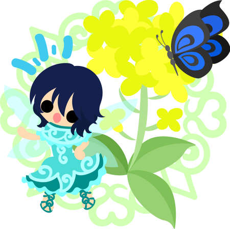 かなりの妖精と美しいアブラナ科植物と蝶  イラスト・ベクター素材