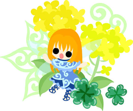 brassica: Pretty fairy and beautiful brassica and clover Illustration