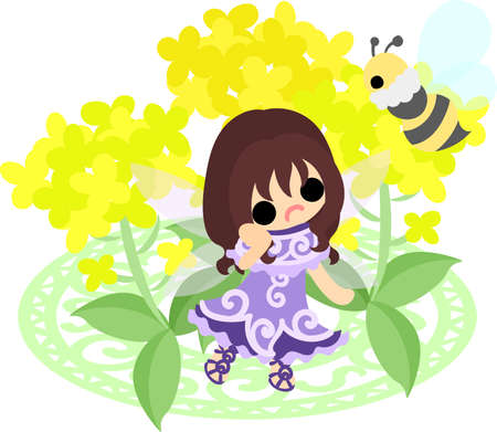 かなりの妖精と美しいアブラナ科植物とミツバチ 写真素材 - 73138046