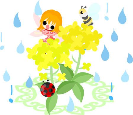 かなりの妖精と美しいアブラナとハチとてんとう虫雨 写真素材 - 73138048