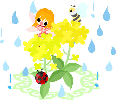 brassica: Pretty fairy and beautiful brassica and bee and ladybug and rain
