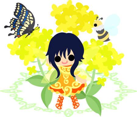かなりの妖精と美しいアブラナ科植物と蝶と蜂