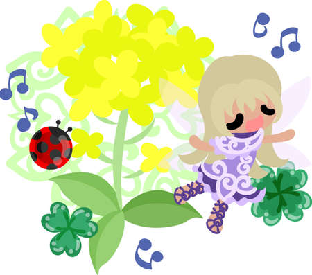 brassica: Pretty fairy and beautiful brassica and ladybug and clover