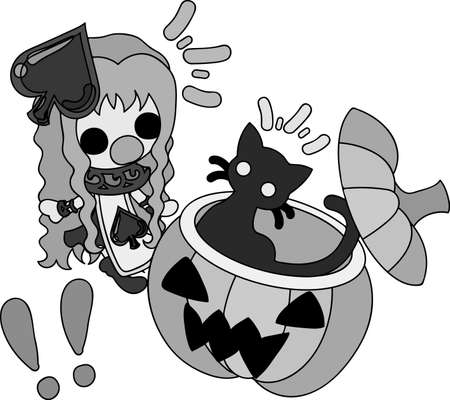 Halloween and jack-o-lanterns and a pretty spade girl