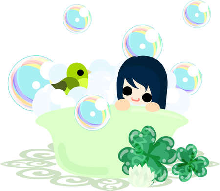 little girl bath: A cute girl and a bathtub of clover