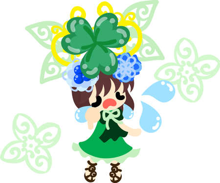 A crying cute girl and a tiara of clover Illustration