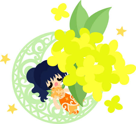 A cute sleeping girl and an object of yellow flowers