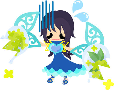 A cute girl who is troubled and a broken object of yellow flowers Illustration