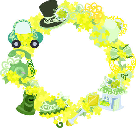 miscellaneous goods: The wreath that is made with various miscellaneous goods of yellow flowers