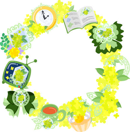 The wreath that is made with various miscellaneous goods of yellow flowers