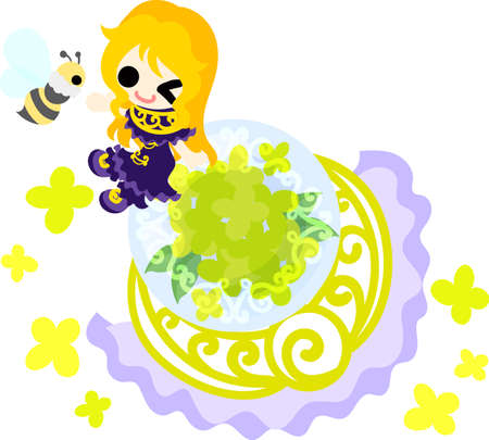 A cute girl and an object of yellow flowers Illustration