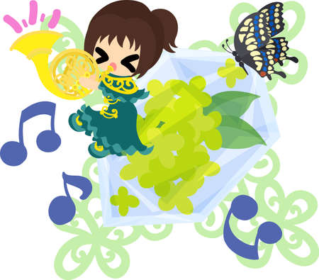 A cute girl playing a horn and a crystal of yellow flowers.
