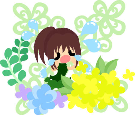 A cute crying girl and yellow flowers