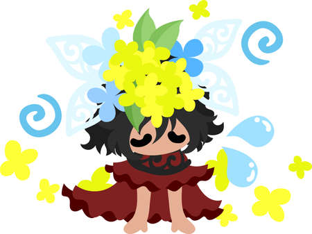 A cute girl who is depressed and a crown of yellow flowers