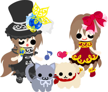 glorious: A black silk hat girl and a red dress girl and a little cat and a little dog