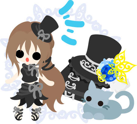 A black silk hat girl and a little cat