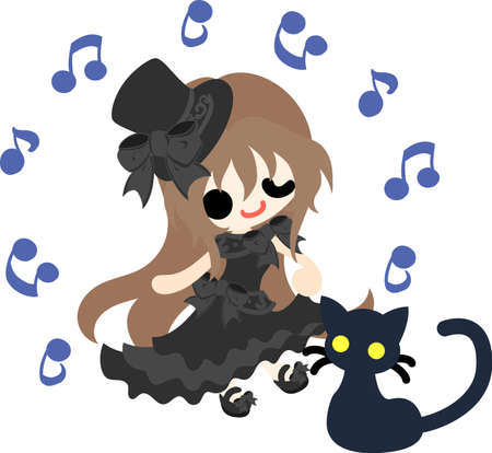 A black silk hat girl and a black cat Illustration