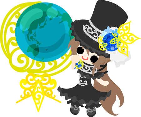 A black silk hat girl and a globe Illustration
