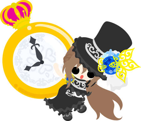 A black silk hat girl and a big clock.