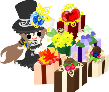glorious: A black silk hat girl and many presents.