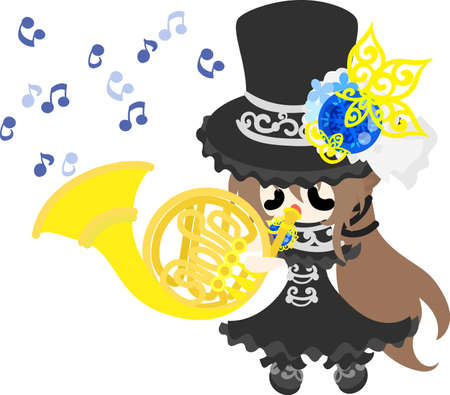A black silk hat girl is playing horn.