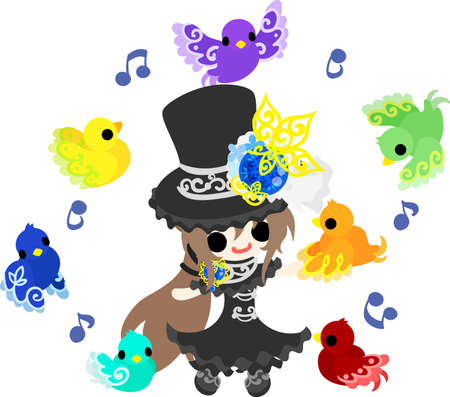 glorious: A black silk hat girl and mysterious birds.