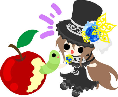 A black silk hat girl and an apple and a green caterpillar. Illustration