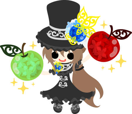 A black silk hat girl and jewels of apple.