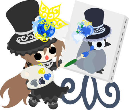 A black silk hat girl and a picture of a baby penguin Illustration