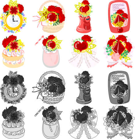 The cute icons of carnation objects such as clock and basket and post and mobile phone and pancake and juice and ribbon and bouquet