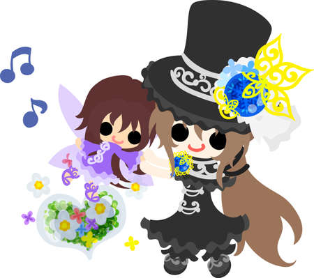 A black silk hat girl and a cute little fairy and a heart crystal