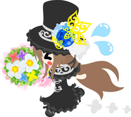 A black silk hat girl who runs with a bouquet