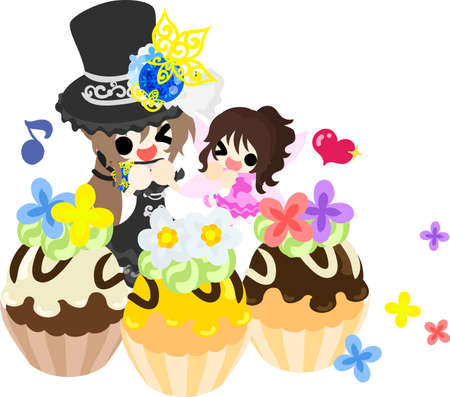 A black silk hat girl and a cute fairy and flower cakes