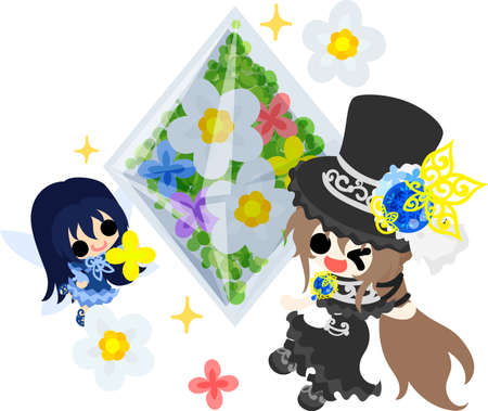 A black silk hat girl and a cute fairy and a flower crystal Illustration