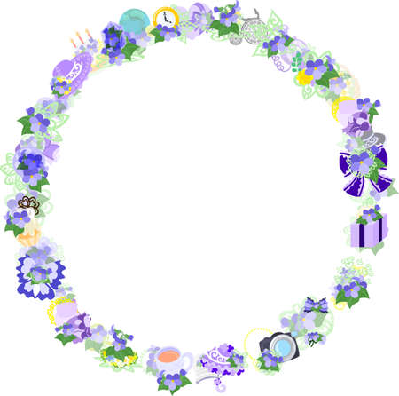 miscellaneous goods: Frame made with various violet items. Illustration