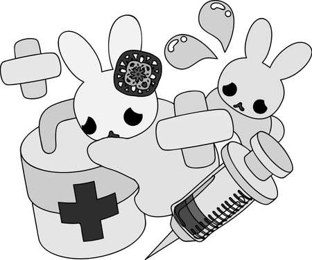 The pretty little rabbits and first-aid kit