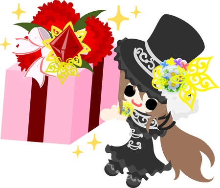 A cute silk hat girl and a present of carnations