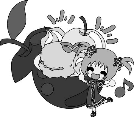 sherbet: A cute little girl and the sherbet of the apple Illustration
