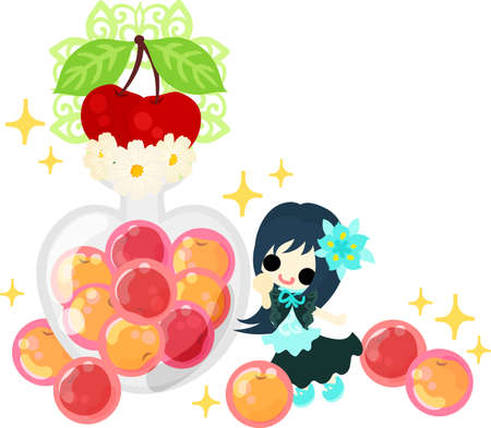 message bottle: A cute little girl and candies of cherry Illustration
