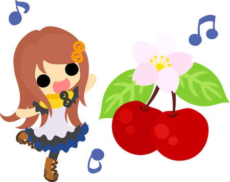 A cute little girl and cherries
