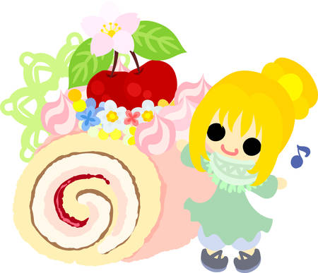 A cute little girl and a roll cake of cherry