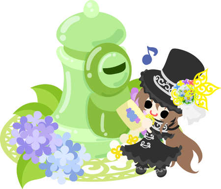 A cute silk hat girl and a post of hydrangeas. Illustration