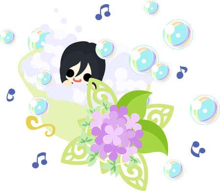 little girl bath: A cute girl and a bathtub of hydrangeas Illustration