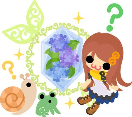 A cute girl and a mysterious crystal of hydrangeas